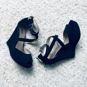 Strappy Suede Wedges - High Heel